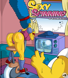 ass blue_hair bulge camel_toe exercise fat_man female hairband hanging_breasts homer_simpson huge_ass huge_breasts kogeikun large_ass leotard long_hair male marge_simpson milf perky_breasts sweat sweating the_simpsons thick_thighs thighs tv very_long_hair