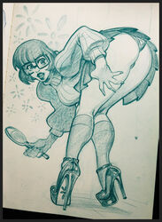 bent_over glasses high_heels lipstick looking_back mirror monochrome panties reiq scooby-doo upskirt velma_dinkley