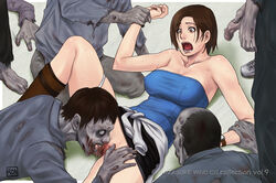 arm_grab arm_support azasuke bare_shoulders boots breasts brown_eyes brown_hair censored cunnilingus drooling erect_nipples fingerless_gloves gloves hair highres jewelry jill_valentine leg_lift lying miniskirt on_back open_mouth oral panties panties_around_one_leg penis pussy resident_evil saliva shaved_pussy short_hair skirt solo spread_legs spread_pussy sweat sweater_around_waist tubetop undead upskirt watch white_panties zombie