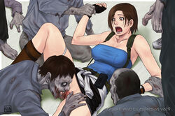 arm_grab arm_support azasuke bare_shoulders belt boots breasts brown_eyes brown_hair censored cunnilingus drooling erect_nipples female fingerless_gloves gloves high_resolution holster human jewelry jill_valentine leg_lift lying male miniskirt on_back open_mouth oral panties panties_around_leg panties_around_one_leg penis pussy resident_evil saliva shaved_pussy short_hair skirt spread_legs spread_pussy straight sweat sweater_around_waist tubetop undead underwear upskirt watch white_panties zombie