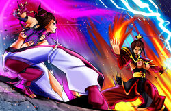 2girls avatar_the_last_airbender azula bare_shoulders barefoot breasts brown_hair chinese_clothes drill_hair energy fighting fighting_stance fire hair_bun juri_han large_breasts lightning makeup multiple_girls nipples seonidas small_breasts street_fighter street_fighter_iv super_street_fighter_iv torn_clothes