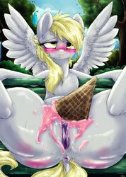 anus blush clitoris derpy_hooves dimwitdog equine female flat_chested friendship_is_magic hair ice_cream mammal my_little_pony nude pegasus presenting purple_pussy pussy spread_legs spreading wings