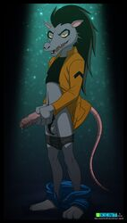 anthro argit balls ben_10 black_hair cartoon_network clothed clothing erection hair holding_penis humanoid_penis long_hair male mammal marsupial open_mouth pants_down partially_clothed penis precum pubes rat_tail rodent solo ukent uncut vein veiny_penis