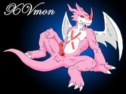 anus balls claws color colored digimon erection exveemon male male_only penis pink_skin salamander_(artist) scalie sketch smile solo spread_legs spreading traditional_media wings