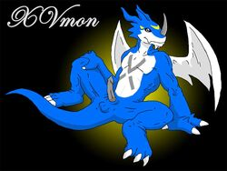 anus balls blue_skin claws color colored digimon erection exveemon male male_only penis salamander_(artist) scalie sketch smile solo spread_legs spreading traditional_media wings