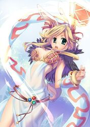 belt blonde_hair book breasts bunny_ears dress female green_eyes long_hair open_mouth pony_tail tagme