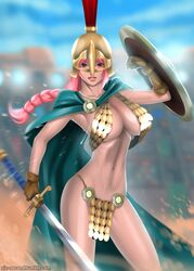 armor armpits big_breasts cleavage colosseum commission endlesscomics helmet one_piece pink_eyes pink_hair pinup rebecca_(one_piece) sfw shield sword ziz_second
