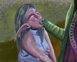 crying cum_in_mouth fellatio female night_elf oral orc tagme tyrande_whisperwind world_of_warcraft