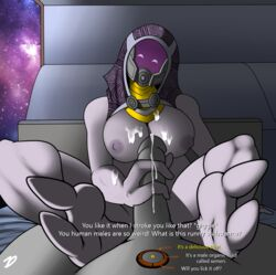 alien bed breasts cum dialog female helmet humanoid_penis mass_effect penis quarian sci-fi sitting space tali'zorah_nar_rayya text two_toes zp92