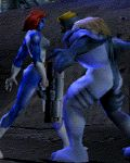animated blue_skin boots loin_cloth marvel mystique red_hair sabretooth walking x-men