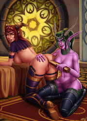 2girls alexstrasza anus armband ass blue_eyes boots circlet dildo earrings female green_hair horn_ornament horns kneeling large_breasts long_hair navel navel_piercing necklace personalami piercing pointy_ears ponytail pussy red_hair sex_toy sitting thigh_boots world_of_warcraft yellow_eyes ysera yuri