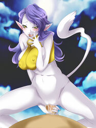 :3 abs assertive bell blue_hair blush bottomless breast_squeeze breasts cat_ear erect_nipples holding_penis huge_breasts megami_tensei naughty_face nekomata nekomata_(megami_tensei) shin_megami_tensei straddle tail uk-violet white_skin