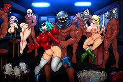 3girls 5boys aqua_hair ass ass_grab barefoot black_hair blonde_hair bob-omb boo boots breasts chain_chomp cleavage condom cum cum_in_container cum_in_mouth cum_inside cum_on_breasts dark-skinned_male dark_skin double_handjob dress fellatio from_behind gerph group_sex hair_over_eyes hair_over_one_eye handjob high_heel_boots high_heels hood huge_ass interracial koopa_troopa large_breasts long_hair mask mug multiple_boys multiple_girls neck_grab nintendo on_one_foot oral original_character piranha_plant pussy rule_63 shy_guy snifit spitroast standing standing_sex stomach_bulge strapless_dress super_mario_bros. testicles thighhighs used_condom white_legwear wide_hips