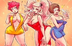 3girls alcohol bare_shoulders blonde_hair blue_dress blue_eyes blush bob_cut breasts brown_eyes brown_hair champagne color crossover danganronpa dress drinking_glass female hair_ornament junko_enoshima kill_la_kill kumatora leaning_forward locked_arms looking_at_viewer mako_mankanshoku mankanshoku_mako mother_3 multiple_girls nail_polish notsafeforfruit orange_background pink_hair red_dress red_nails side_slit simple_background tied_hair twintails wide_hips wink yellow_dress
