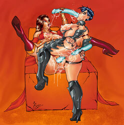 2girls anal_insertion anus areolae ass big_breasts blue_hair breasts brown_hair color colored dark_hair dildo double_dildo female female_only green_eyes high_heels kaileena large_breasts long_hair multiple_females nipples prince_of_persia prince_of_persia_warrior_within pussy redberz sex shahdee short_hair vaginal vaginal_penetration yuri