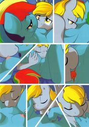 ajin anthro anthrofied anus blonde_hair blue_body breasts closed_eyes comic cunnilingus derpy_hooves equine female fingering friendship_is_magic grey_body hair horse kissing looking_down mammal multi_tone_hair my_little_pony nipples open_mouth oral oral_sex pony rainbow_dash_(mlp) sex smile tongue tongue_out vaginal_penetration wings yuri