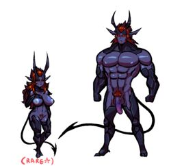 balls blue_nipples breasts breeding_season demon female hair horn male monster monster_girl nipples penis pubes purple_penis purple_skin pussy red_eyes red_hair s-purple size_difference