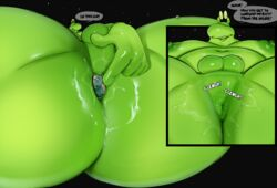 ! anal anal_sex anal_vore anthro anus areola ass balls big_butt big_nipples close-up closed_eyes dialogue earth english_text gastropod hi_res huge_butt hyper hyper_butt justmegabenewell lying macro male moobs moon navel nipples nude obese on_back open_mouth overweight penetration planet size_difference slug smile solo space spread_legs spreading sweat teeth text thick_thighs tongue vore
