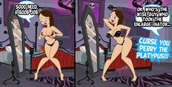 bedroom big_breasts black_hair black_panties blue_eyes bra breast_enlargement breast_expansion breasts brown_hair cleavage comic curvy disney funny goth grimphantom large_breasts lipstick long_hair nipples panties phineas_and_ferb posing underwear vanessa_doofenshmirtz wide_hips