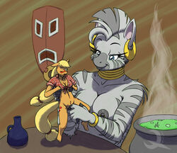 2013 anthro applejack_(mlp) bottle breasts cauldron doll equine ethanqix female fingering friendship_is_magic horse jewelry mask mohawk my_little_pony nipples pussy pussy_juice size_difference smile stripes tribal yuri zebra zecora_(mlp)