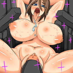 ahe_gao arms_behind_head big_breasts bite_marks blue_eyes breasts brown_hair dr.bug drooling enderman female fucked_silly hair human mammal minecraft penetration penis saliva tongue tongue_out vaginal_penetration vaginal_penetration video_games