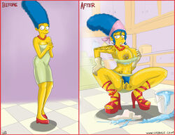 before_and_after blue_hair breasts clothes color female female_only hair human marge_simpson nipples piercing solo squatting standing tagme the_simpsons therealshadman yellow_skin