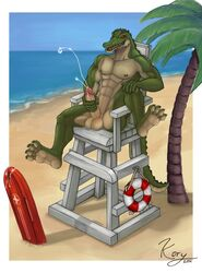 2014 abs alligator anthro ass balls barefoot beach biceps chair claws clothed clothing cum cumshot erection half-dressed happy hi_res kory_(artist) league_of_legends lifeguard male manly masturbation muscles navel nipples nude open_mouth orgasm outside palm_tree pecs penis plant renekton reptile sand scalie sea seaside sharp_claws sharp_teeth sitting smile solo spread_legs spreading teeth toe_claws tongue tree video_games water