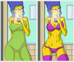 barabba92 color female female_only human lingerie marge_simpson selfie solo the_simpsons