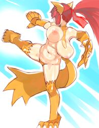 animal_ear artist_request bouncing_breasts breasts cat_ear disgaea highres huge_breasts nekomata nekomata_(disgaea) nipples plump red_hair