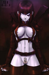 areola_slip areolae belt black_hair blue_eyes breasts cleavage domino dual_wielding female fingerless_gloves gloves gun large_breasts looking_at_viewer marvel navel pale_skin pubic_hair pussy sexgazer short_hair solo standing straps thigh_strap thighhighs weapon