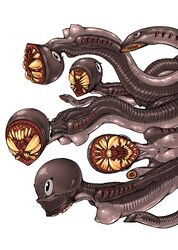 grey_eyes lamprey monster monster_girl multiple_girls open_mouth sharp_teeth simple_background tagane tentacle