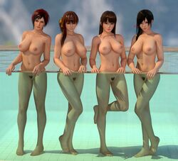 3d 4girls areolae barefoot black_eyes black_hair breasts brown_eyes brown_hair dead_or_alive feet female full_body kasumi_(doa) kokoro_(doa) legs lei_fang lips long_hair looking_at_viewer mila_(dead_or_alive) multiple_girls navel nipples nude orange_ribbon outdoors ponytail pool pubic_hair pussy radianteld red_eyes red_hair short_hair side_ponytail soles source_filmmaker thighs tied_hair trimmed_pubic_hair wet wet_hair xps