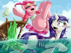 anus ass clitoris clothing dimwitdog equine female friendship_is_magic fur hair horn horse jumping mammal my_little_pony outside partially_clothed pinkie_pie_(mlp) pony pussy rarity_(mlp) water