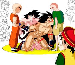 6+boys alien anal bardock black_eyess black_hair broly dragon_ball_z eating gay group_sex hat incest krillin long_hair male master_roshi multiple_boys muten_roushi nappa nude oral penis precum pubic_hair raditz rape rape_face sandals sex son_gohan son_goku son_gokuu sunglasses tail tail_grab tear turles uncensored uniform watching white_hair yaoi