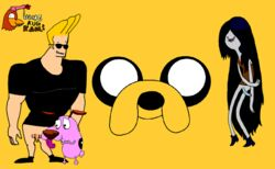 adventure_time courage courage_the_cowardly_dog funny hanekugkam jake_the_dog johnny_bravo marceline