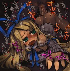 angel ass bent_over blonde_hair blue_eyes blush breasts detached_sleeves disgaea female flonne hair_ribbon long_hair looking_back masha no_nose open_mouth penis ribbon sex small_breasts tagme