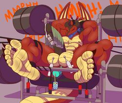 abs anal anal_penetration anal_sex balls barbell big_feet big_penis bondage bound cum dragon dragon_tail edging erection feet foot_focus gag gym_equipment horn horns huge_cock huge_penis humanoid_penis jump_rope male naked nude nudity penetration penis red_scales red_skin reptile sex_toy solo toe_claws ty_(zp92) vibrator weights wings zp92