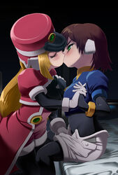 aile bed blonde_hair blush breast_grab breast_squeeze breasts brown_hair eyes_closed female green_eyes kissing machbow mega_man megaman_zx multiple_girls mutual_yuri prairie rockman rockman_zx yuri