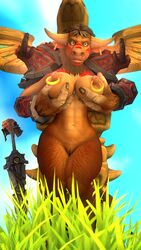 3d anthro big_breasts bovine breast_grab breasts brown_hair digital_media_(artwork) female fur general_nipples general_solo hair hand_on_breast horn mammal nordvarg1 nude pose pussy solo tauren video_games warcraft wide_hips