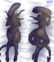 2014 alien alien_(franchise) ass blush female lying ponideathmarch pussy sharp_teeth smile teeth xenomorph